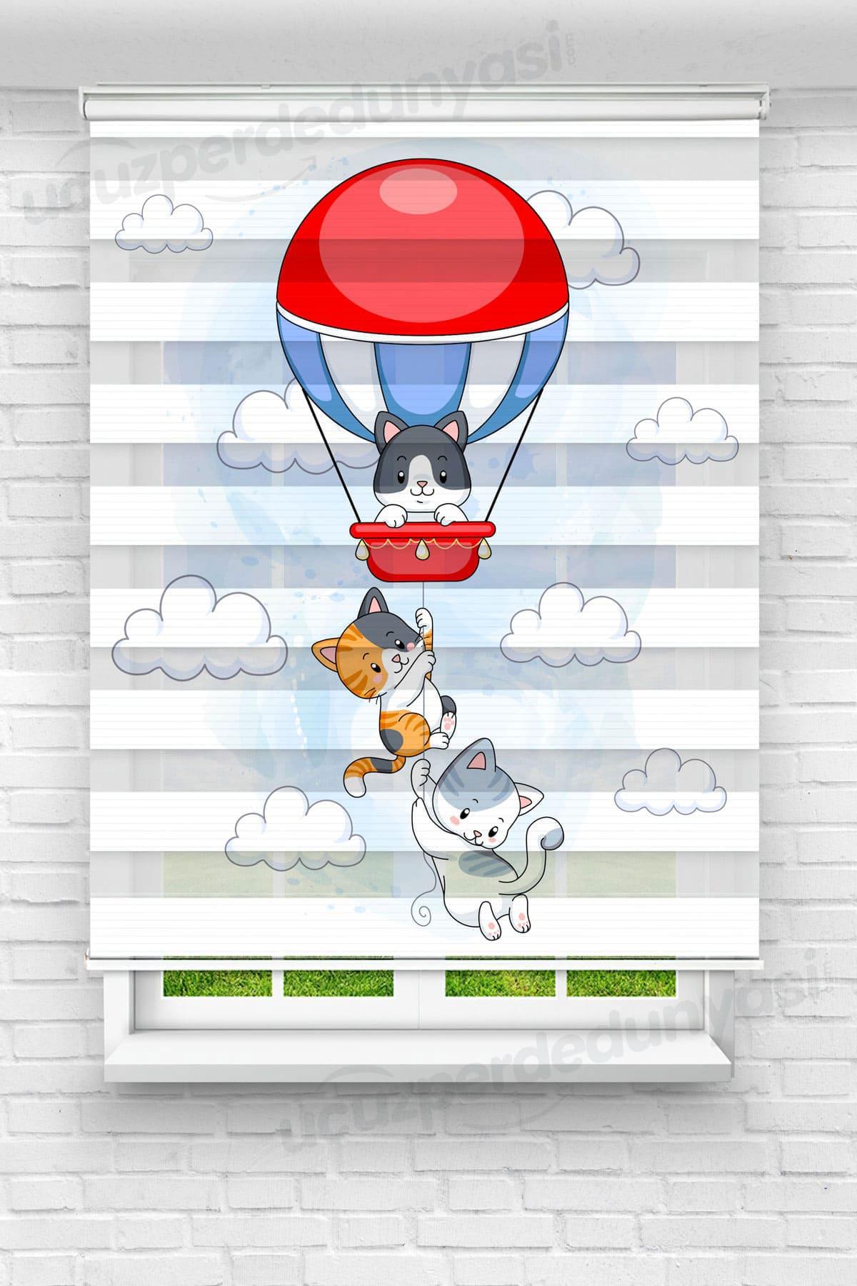 Balonla Uçan Kediler Çocuk Odası Zebra Perde