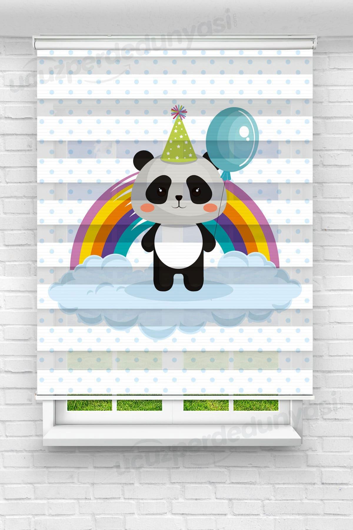 Balonlu Panda Çocuk Odası Zebra Perde
