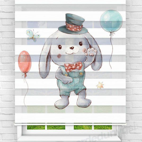 Balonlu Tavşan Çocuk Odası Zebra Perde