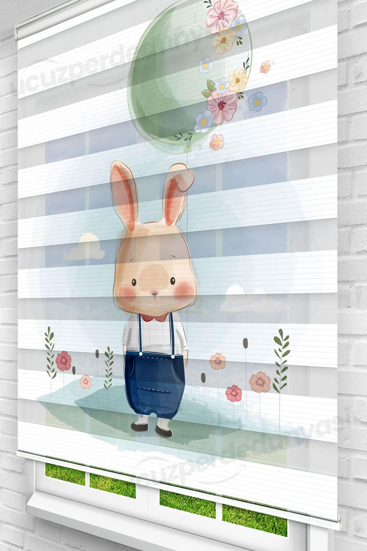 Mavi Elbiseli Tavşan Çocuk Odası Zebra Perde