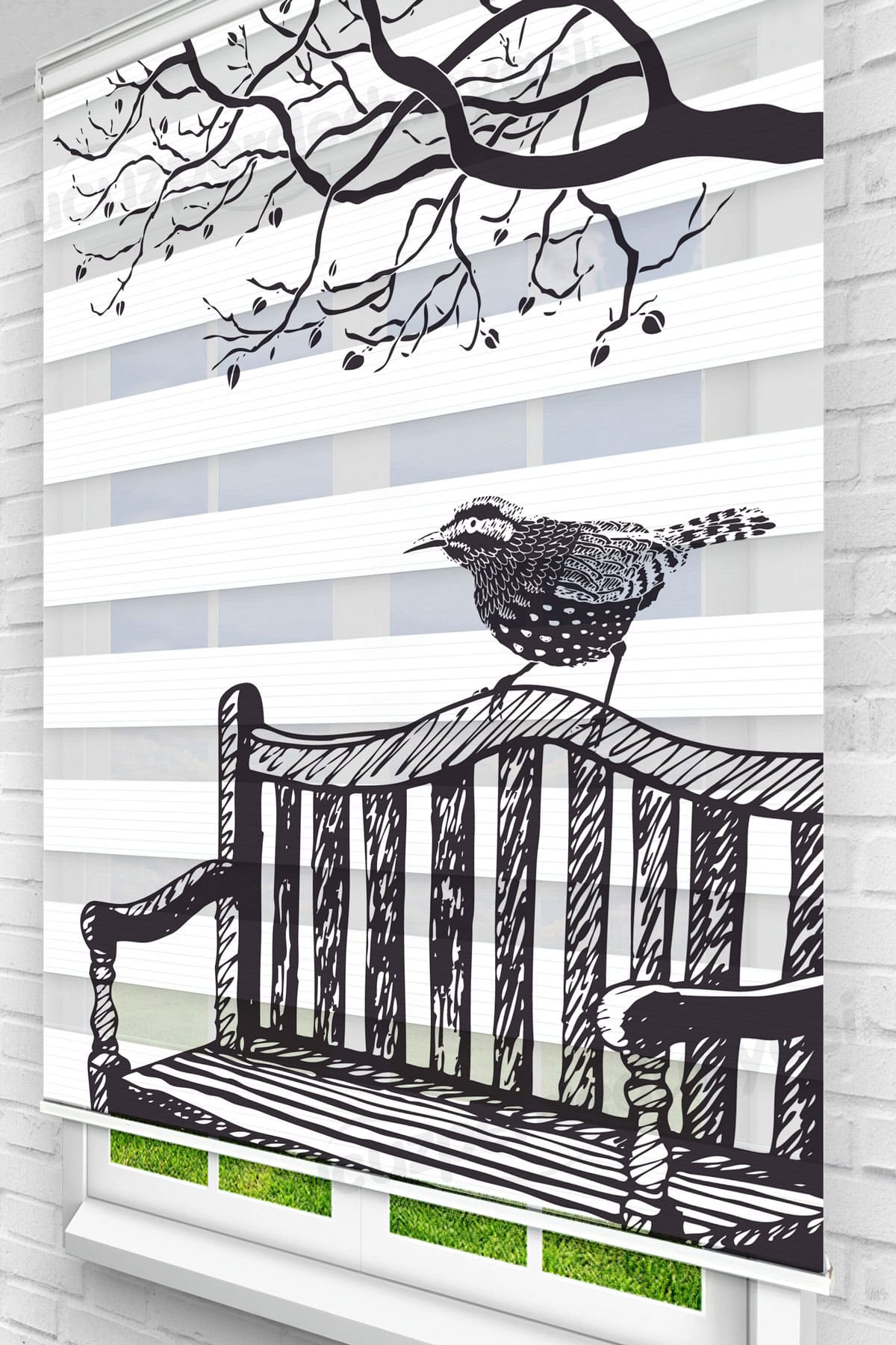 Banktaki Kuş Mutfak Zebra Perde