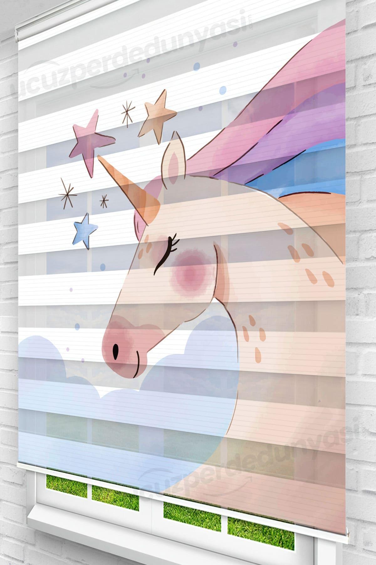 Yıldızlı Boynuz Unicorn Çocuk Odası Zebra Perde