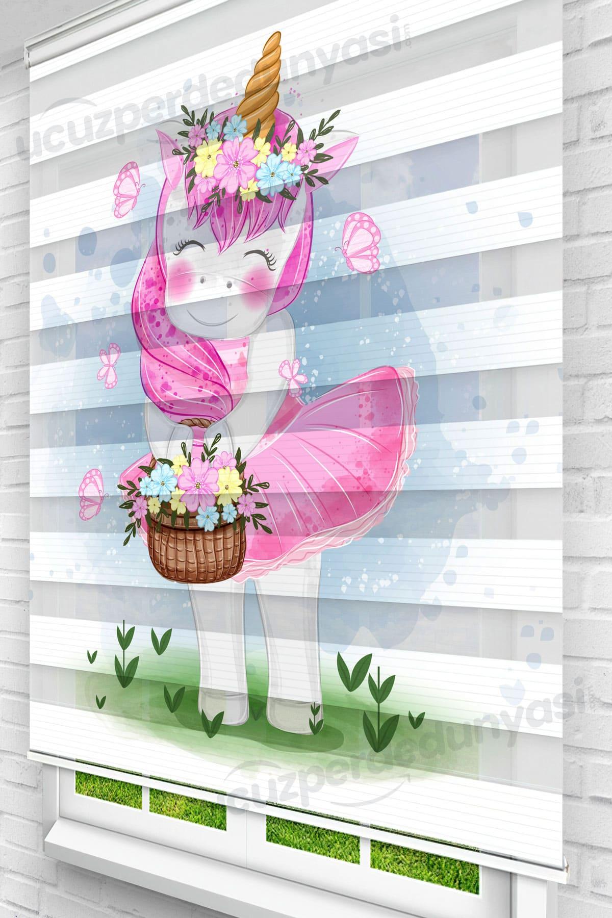Çiçek Toplayan Unicorn Çocuk Odası Zebra Perde