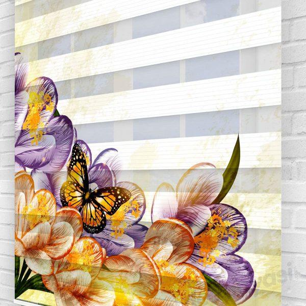 Çiçekler İçindeki Kelebek Mutfak Zebra Perde