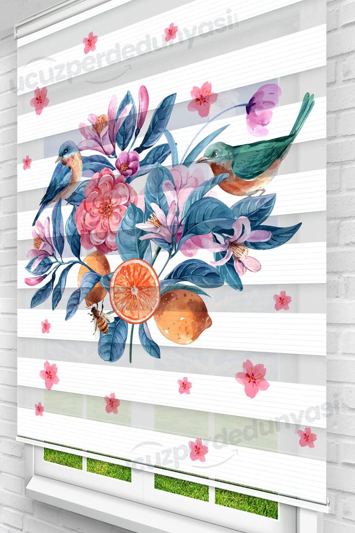 Çiçekler İçerisindeki Kuşlar Mutfak Zebra Perde