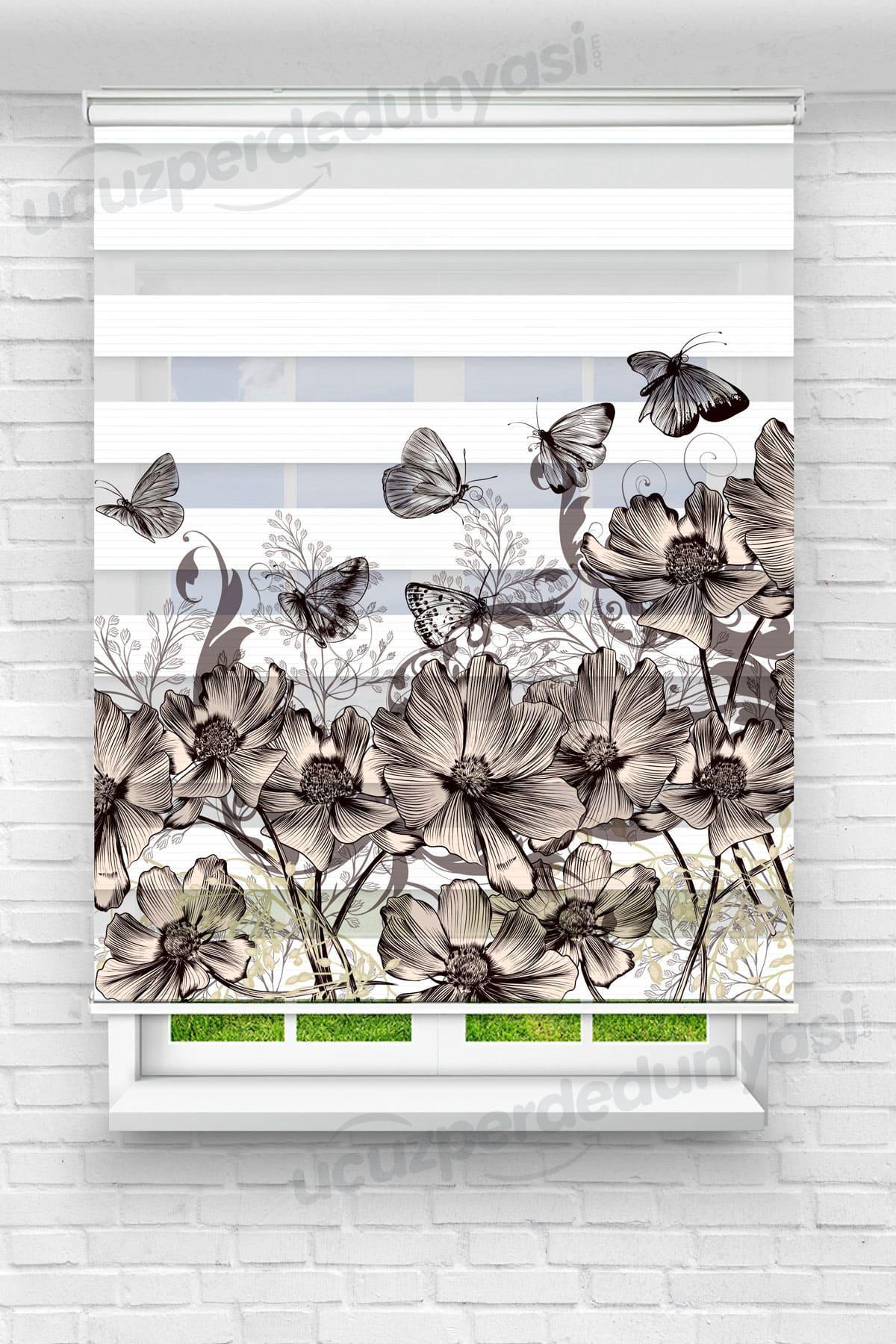 Çiçekler Üstündeki Kelebekler Mutfak Zebra Perde