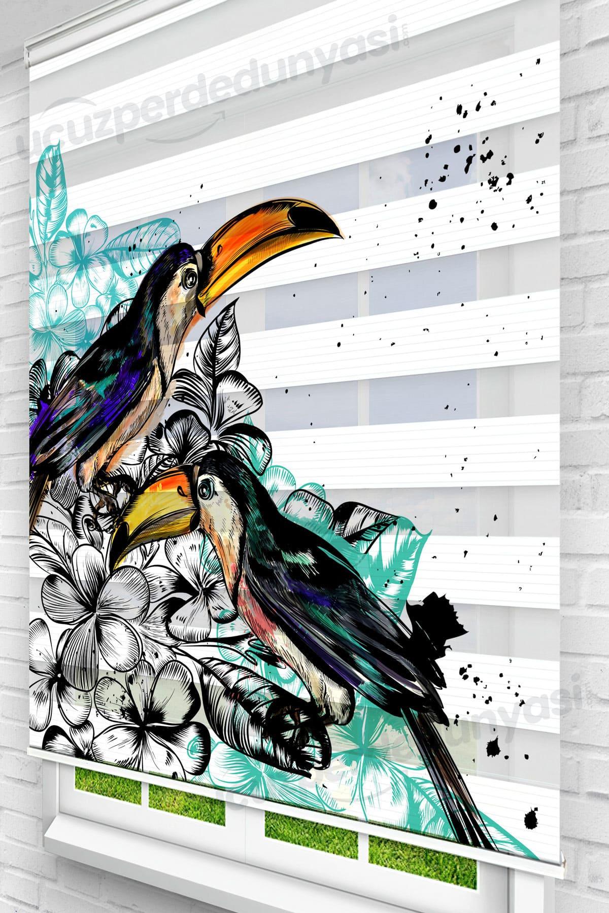 Çiçekli Gagalı Kuş Genç Odası Zebra Perde