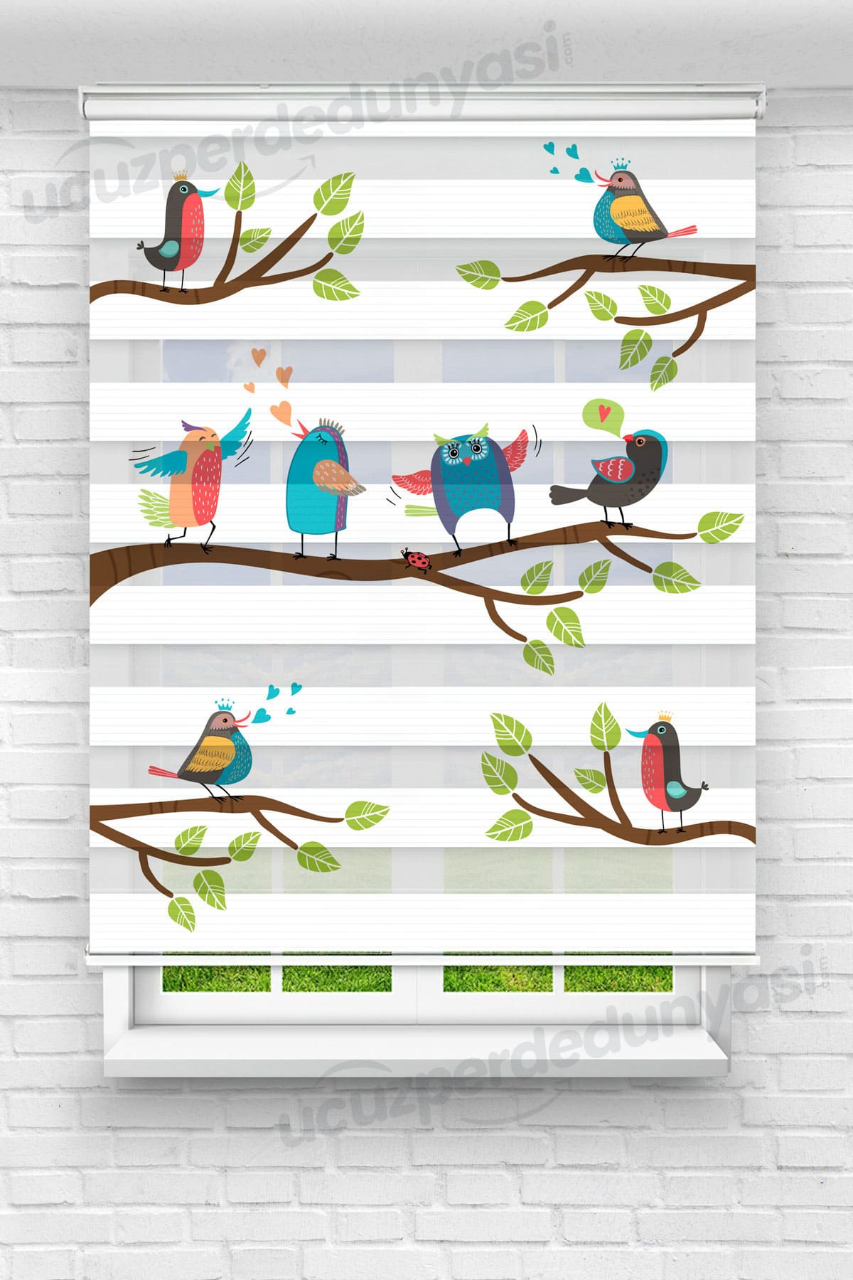 Daldaki Mutlu Kuşlar Çocuk Odası Zebra Perde