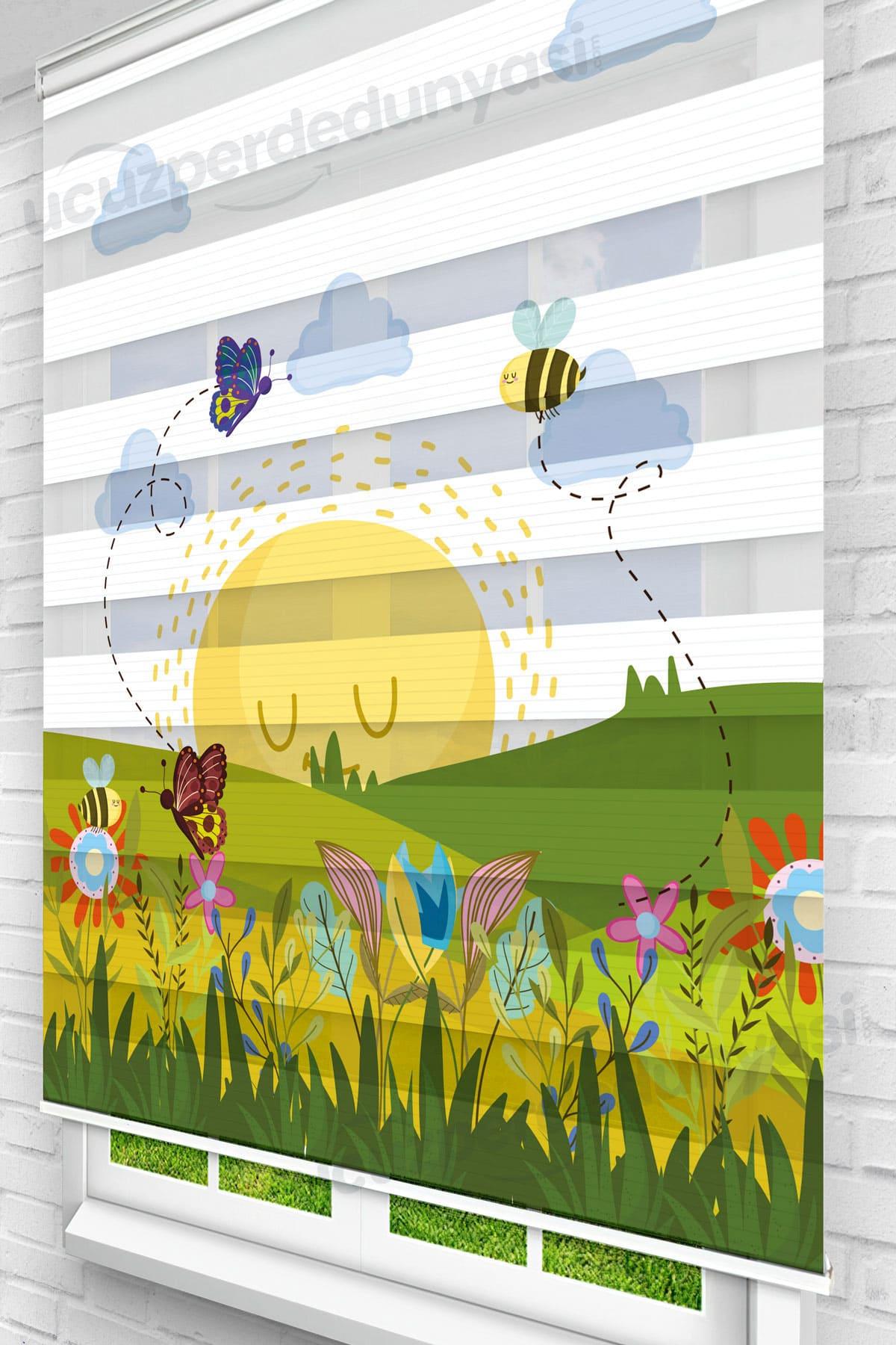 Doğa ve Arılar Çocuk Odası Zebra Perde