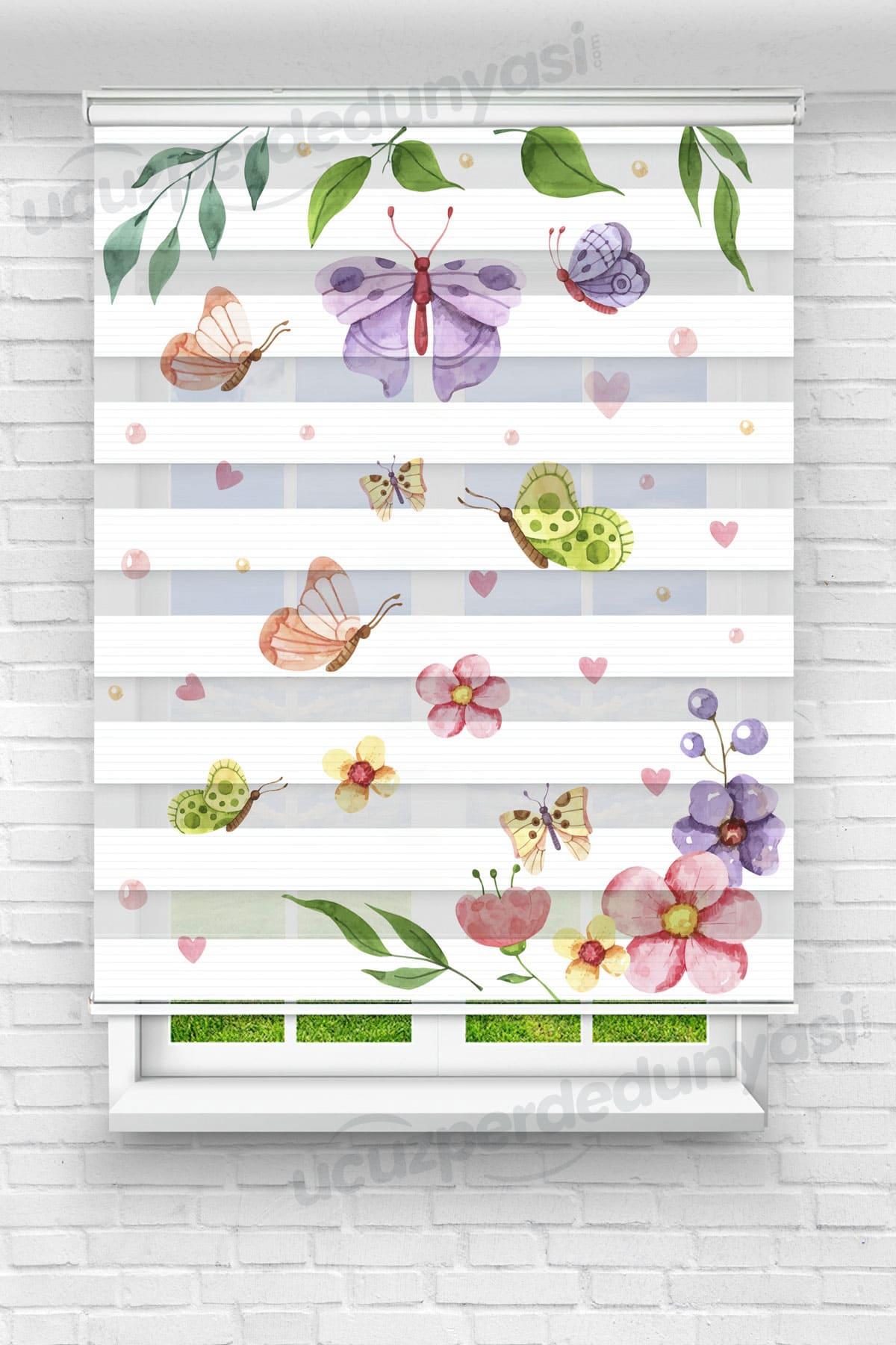 Farklı Kelebekler ve Çiçekler Mutfak Zebra Perde
