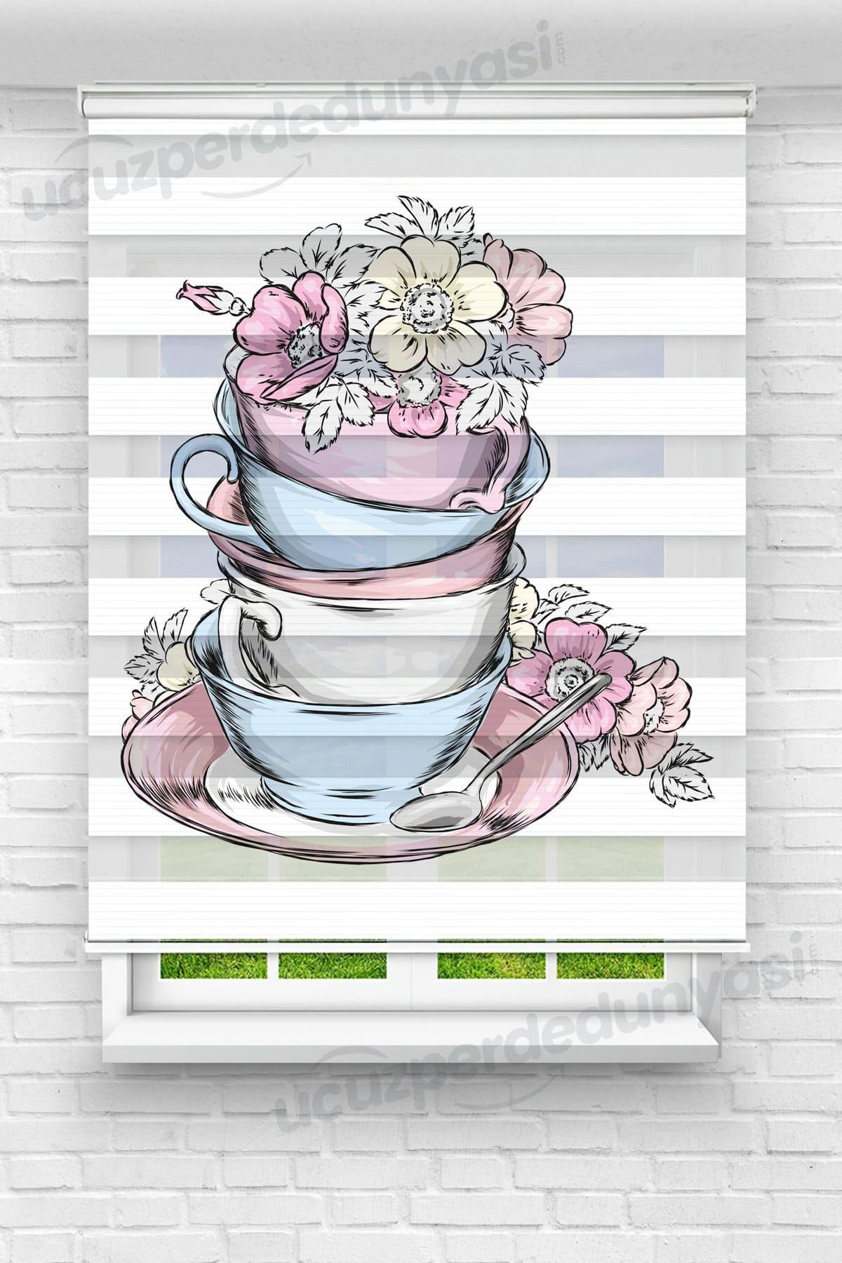 Fincan İçerisindeki Çiçekler Mutfak Zebra Perde