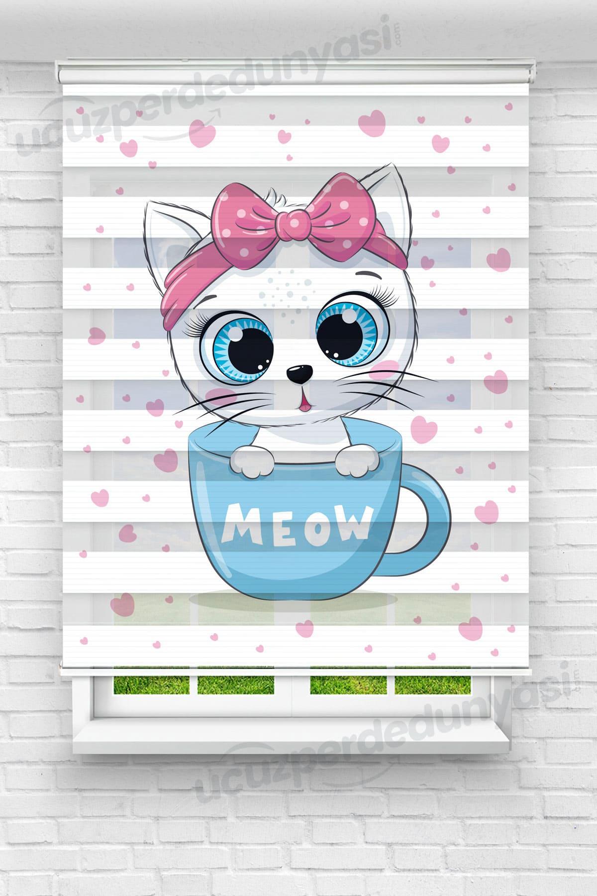 Fincandaki Meow Çocuk Odası Zebra Perde