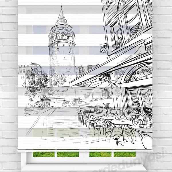 Galata Kulesi Mutfak Zebra Perde