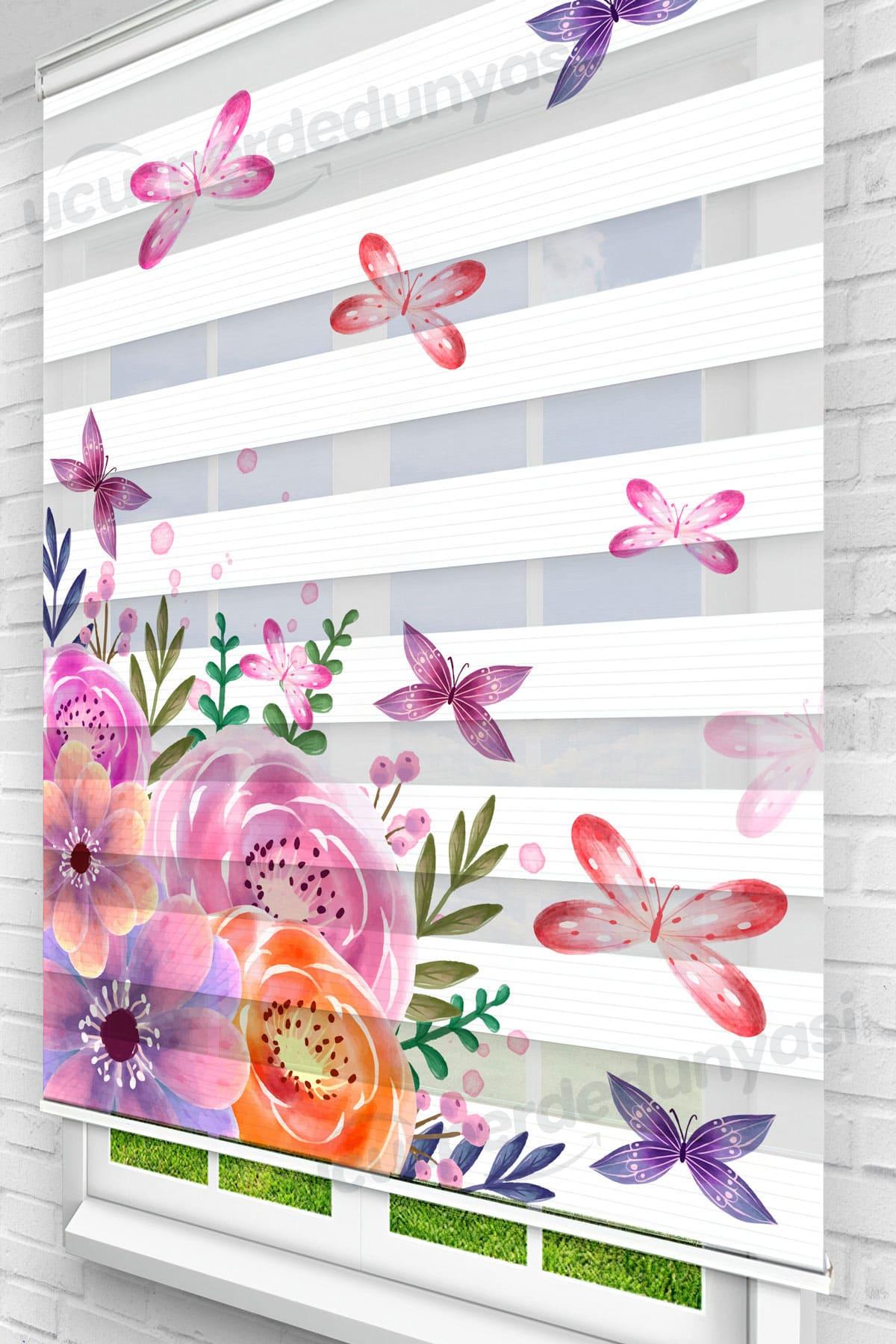 Gelincik Çiçekli Kelebekler Mutfak Zebra Perde
