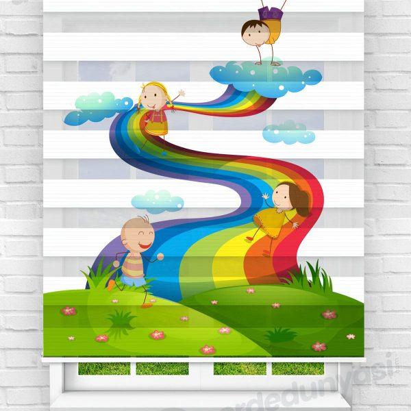 Gökkuşağından Kayan Çocuklar Çocuk Odası Zebra Perde