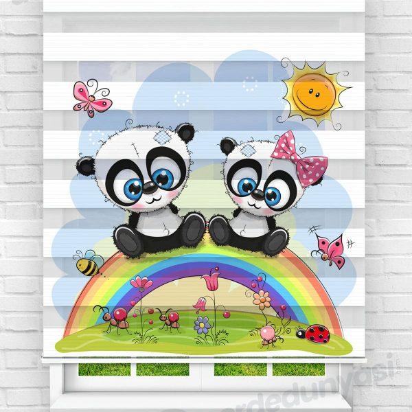 Gökkuşağındaki Minik Pandalar Çocuk Odası Zebra Perde