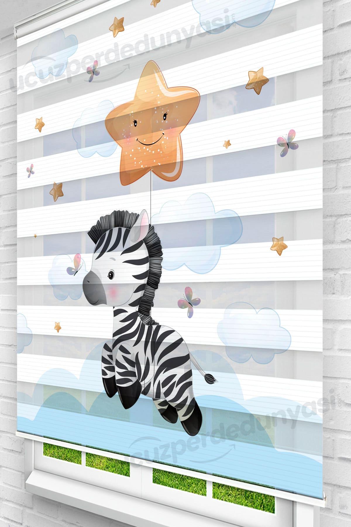 Göklerde Uçan Zebra Çocuk Odası Zebra Perde