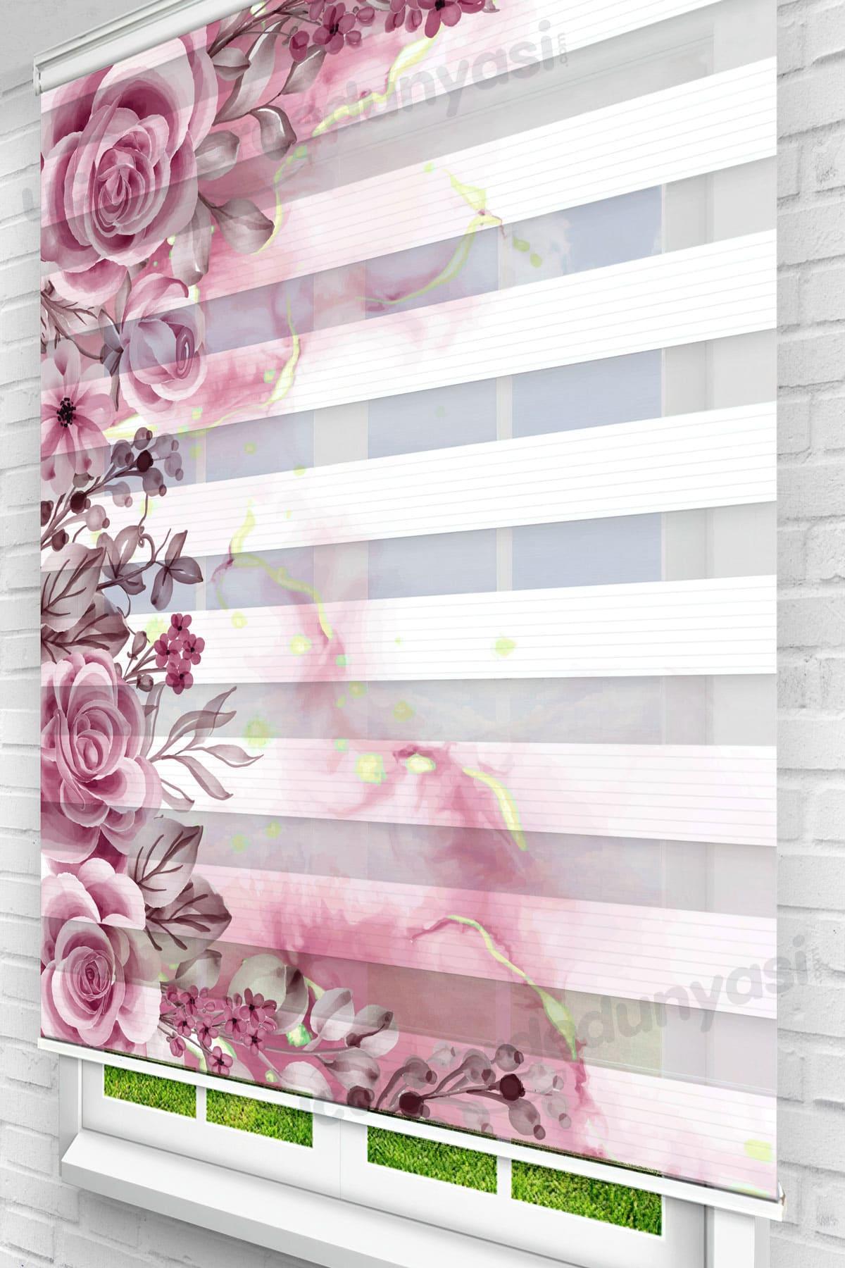 Gül Kurusu Mermer Güller Çiçekli Zebra Perde
