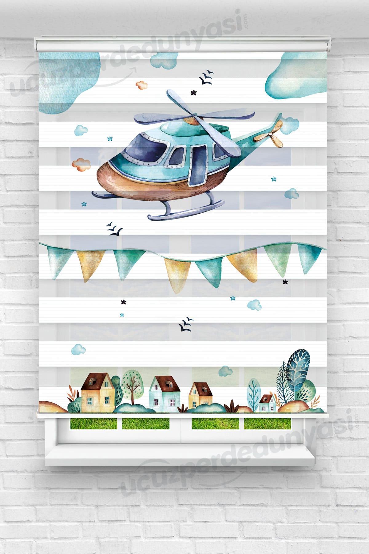 Harikalar Diyarı Helikopter Çocuk Odası Zebra Perde