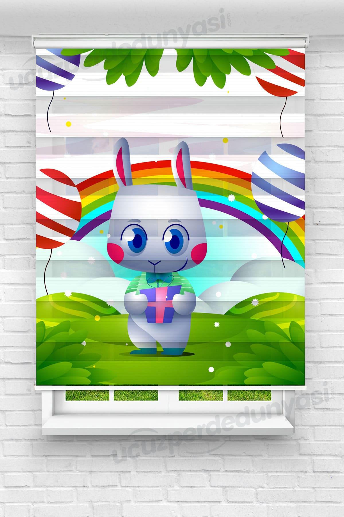 Hediye Tutan Tavşan Çocuk Odası Zebra Perde