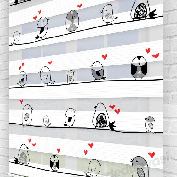 İpteki Kuşlar Çocuk Odası Zebra Perde