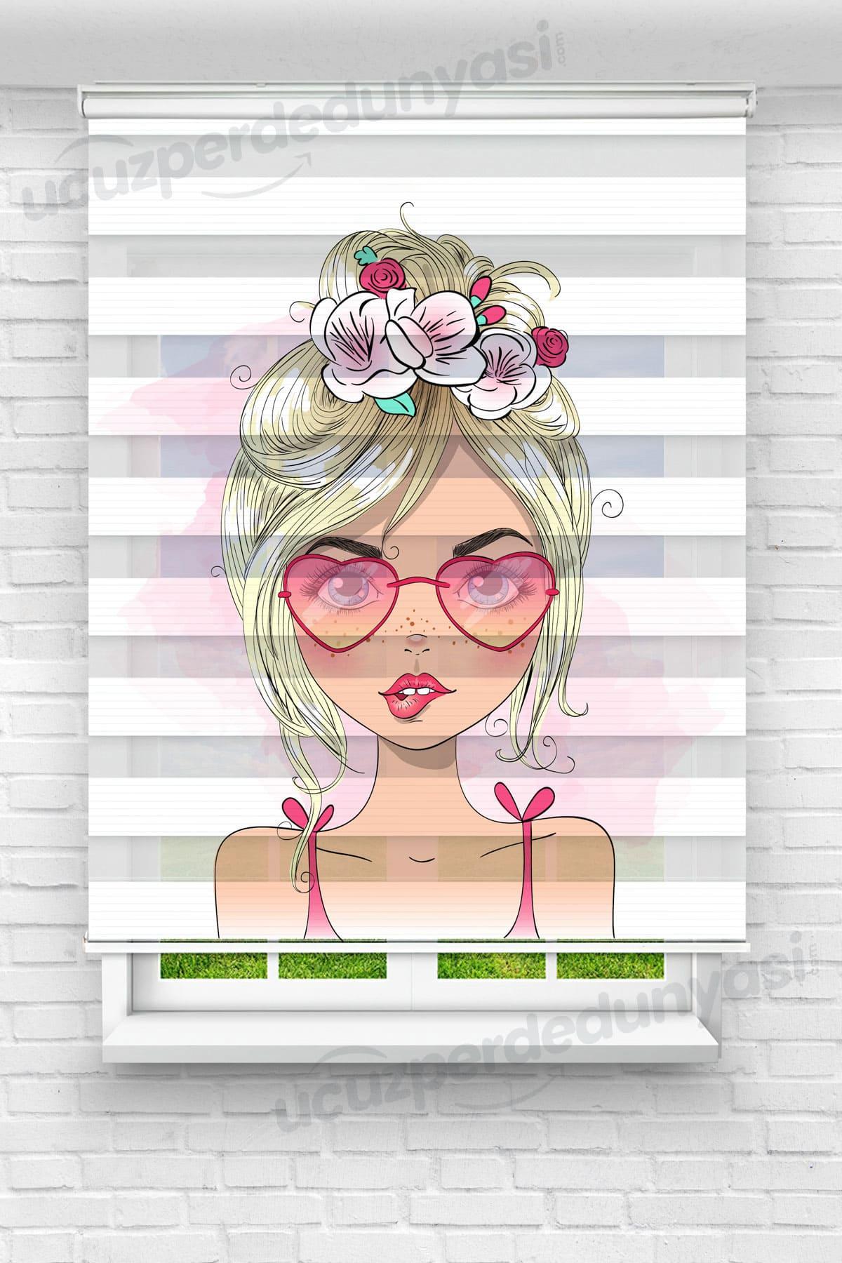 Kalp Gözlüklü Kız Çocuk Odası Zebra Perde