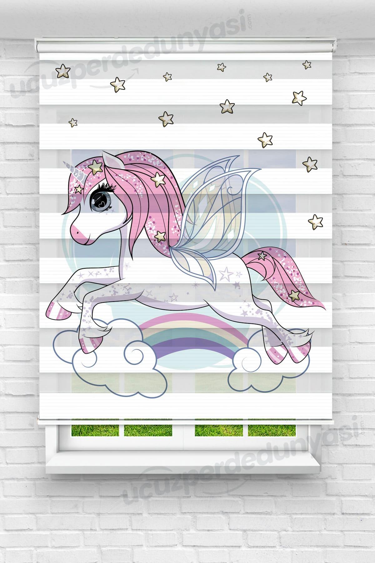 Kanatlı Unicorn Çocuk Odası Zebra Perde