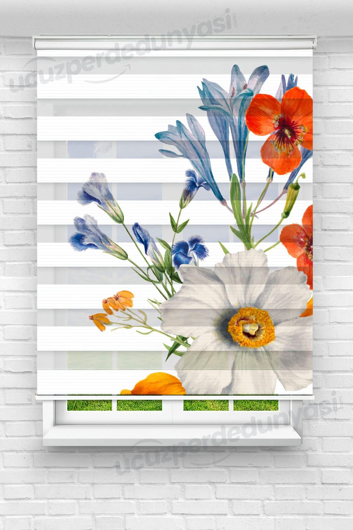 Karma Çiçekler Mutfak Zebra Perde