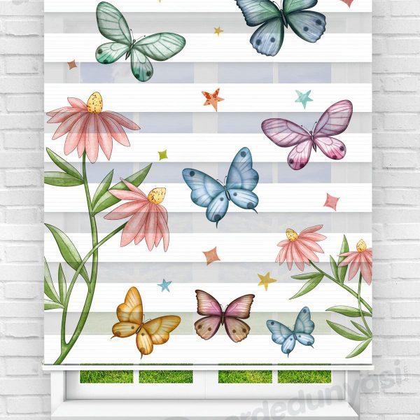 Kelebekler ve Çiçekler Mutfak Zebra Perde