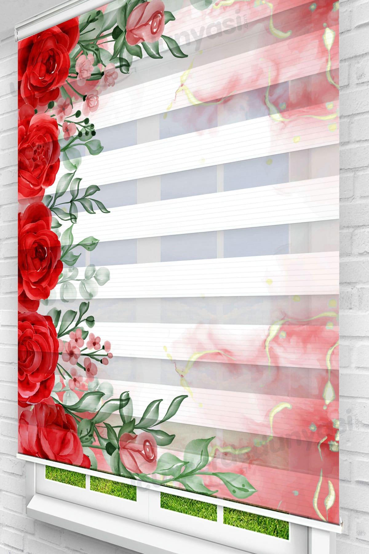 Kırmızı Mermer Güller Mutfak Zebra Perde
