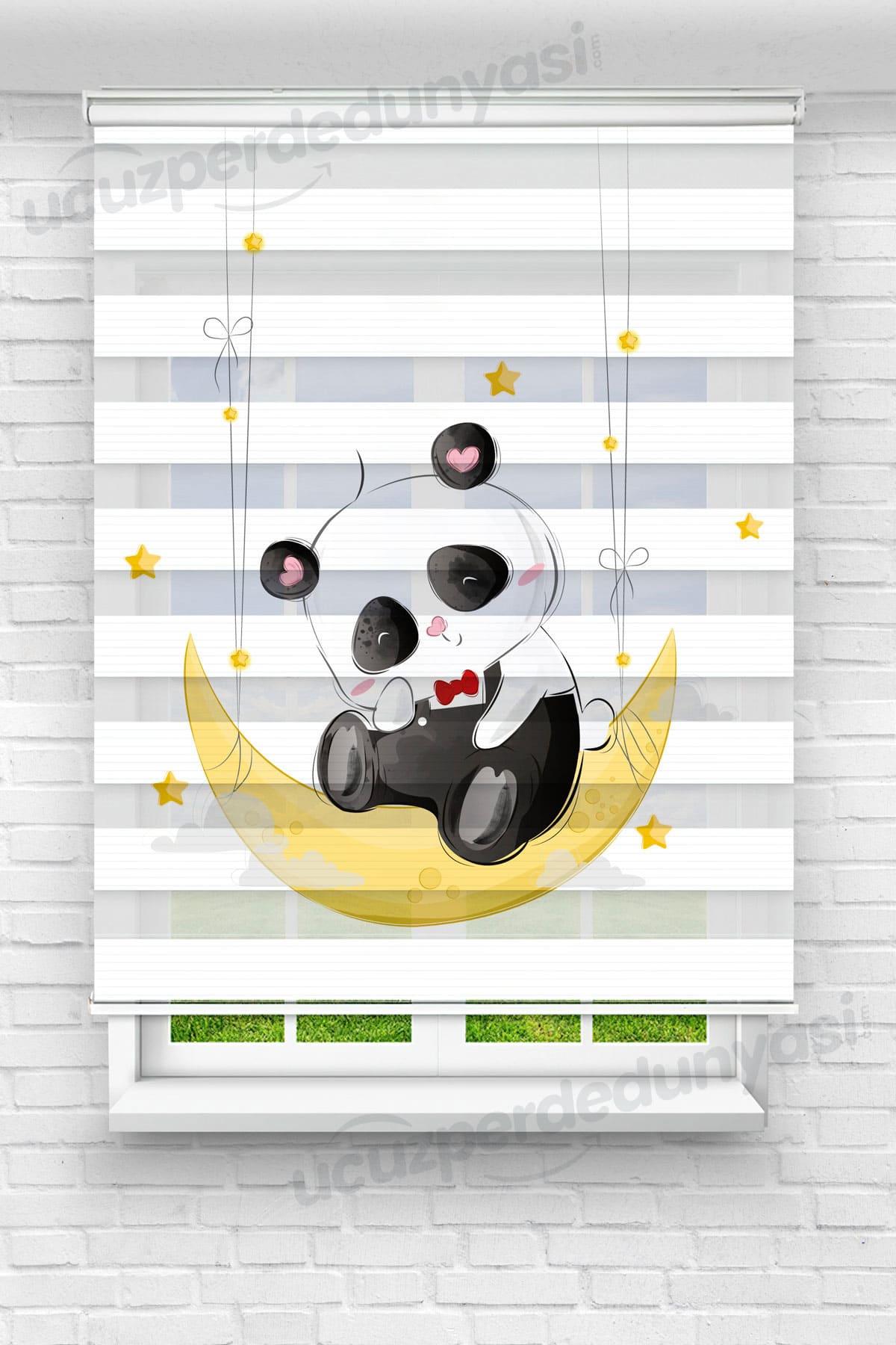 Kırmızı Papyonlu Panda Çocuk Odası Zebra Perde
