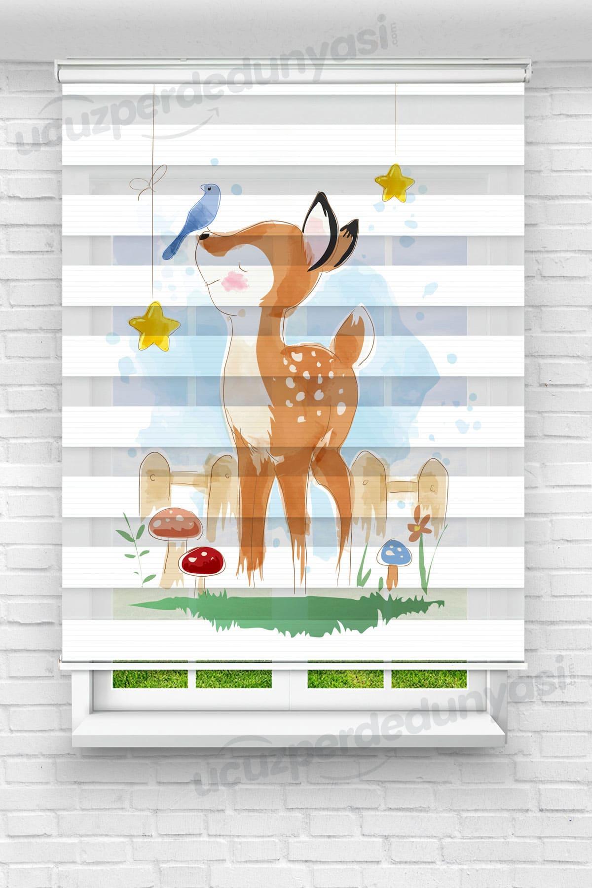 Kuş ve Minik Ceylan Çocuk Odası Zebra Perde