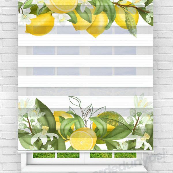 Limon ve Yapraklar Mutfak Zebra Perde
