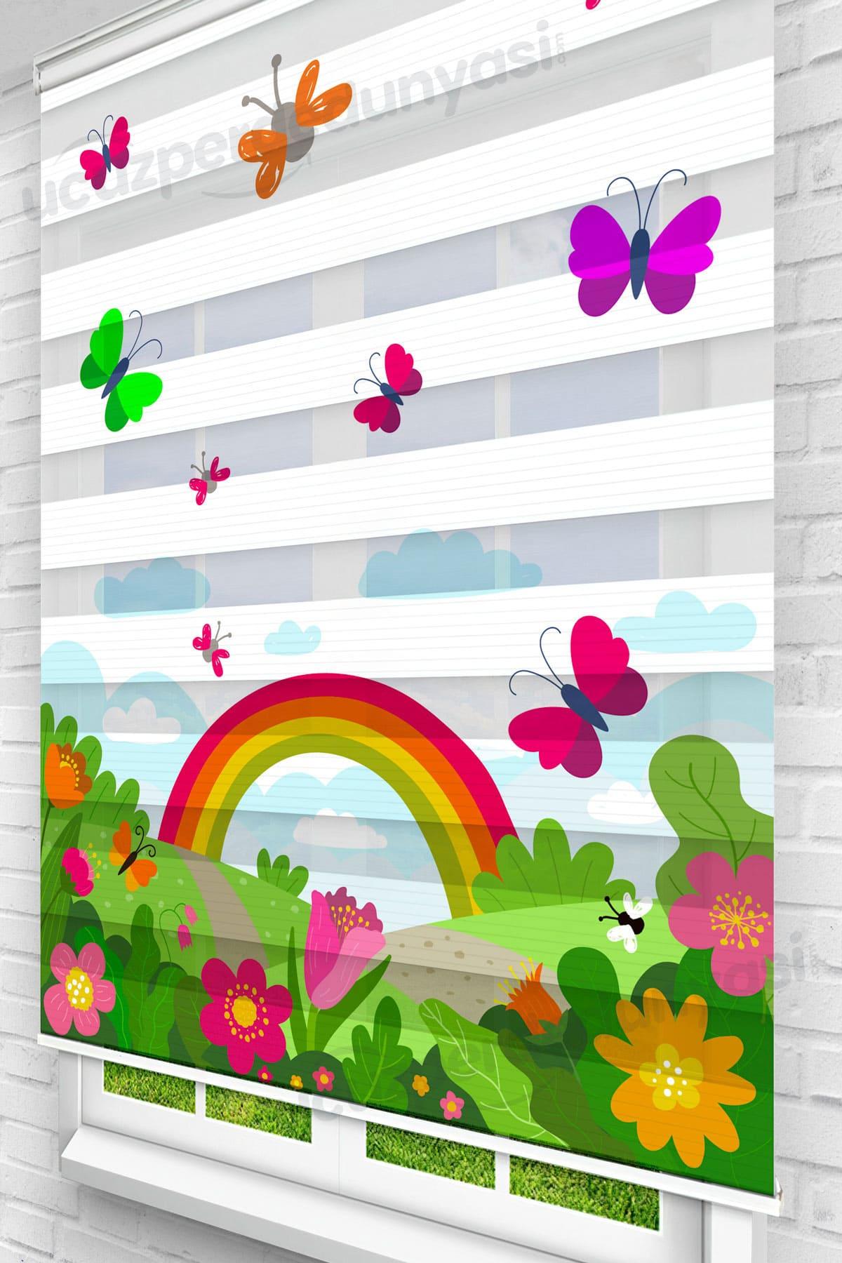 Manzaradaki Kelebekler Çocuk Odası Zebra Perde