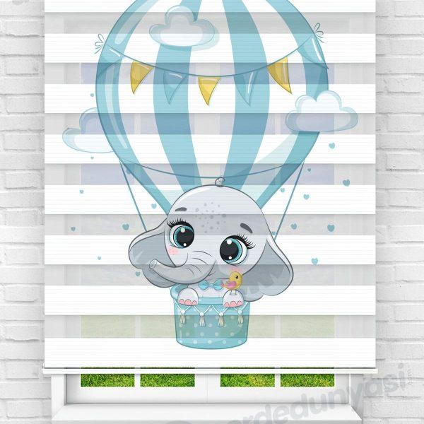 Mavi Uçan Balonlu Fil Çocuk Odası Zebra Perde