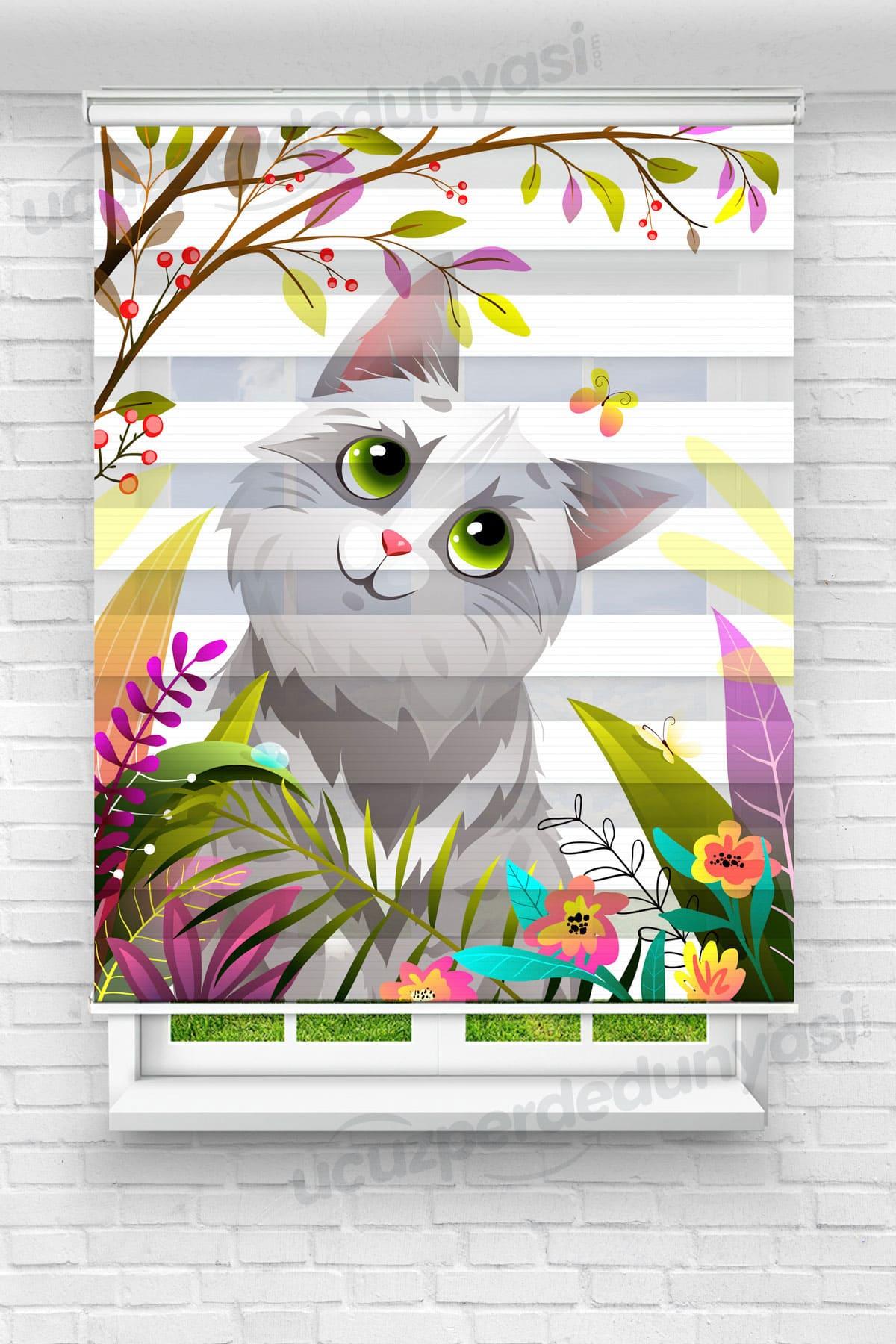 Meraklı Kedi Çocuk Odası Zebra Perde