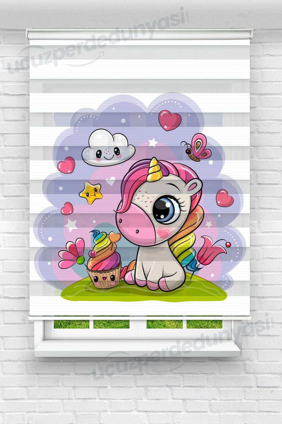 Minik Unicorn ve Kek Çocuk Odası Zebra Perde