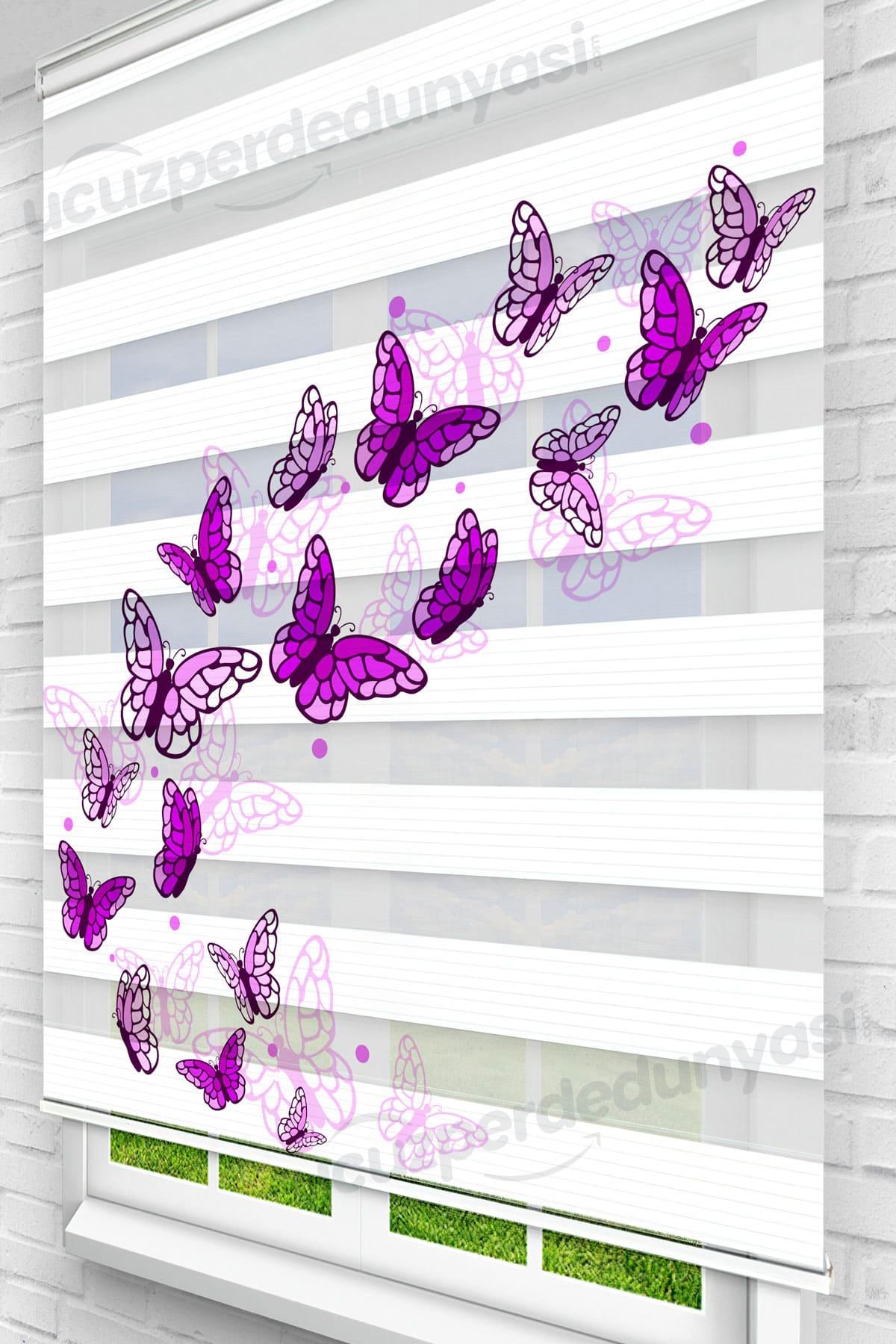Mor Göç Kelebekleri Çocuk Odası Zebra Perde