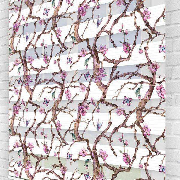 Mor Manolyalar ve Kelebekler Çiçekli Mutfak Zebra Perde