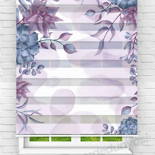 Mor ve Mavi Çiçekler Mutfak Zebra Perde