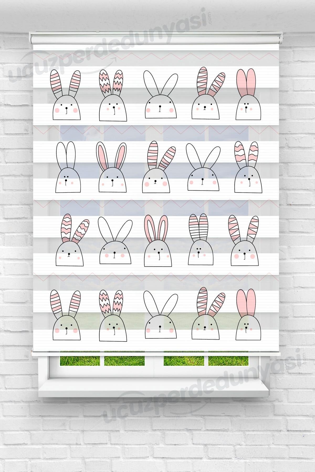 Motifli Çizgili Tavşan Çocuk Odası Zebra Perde