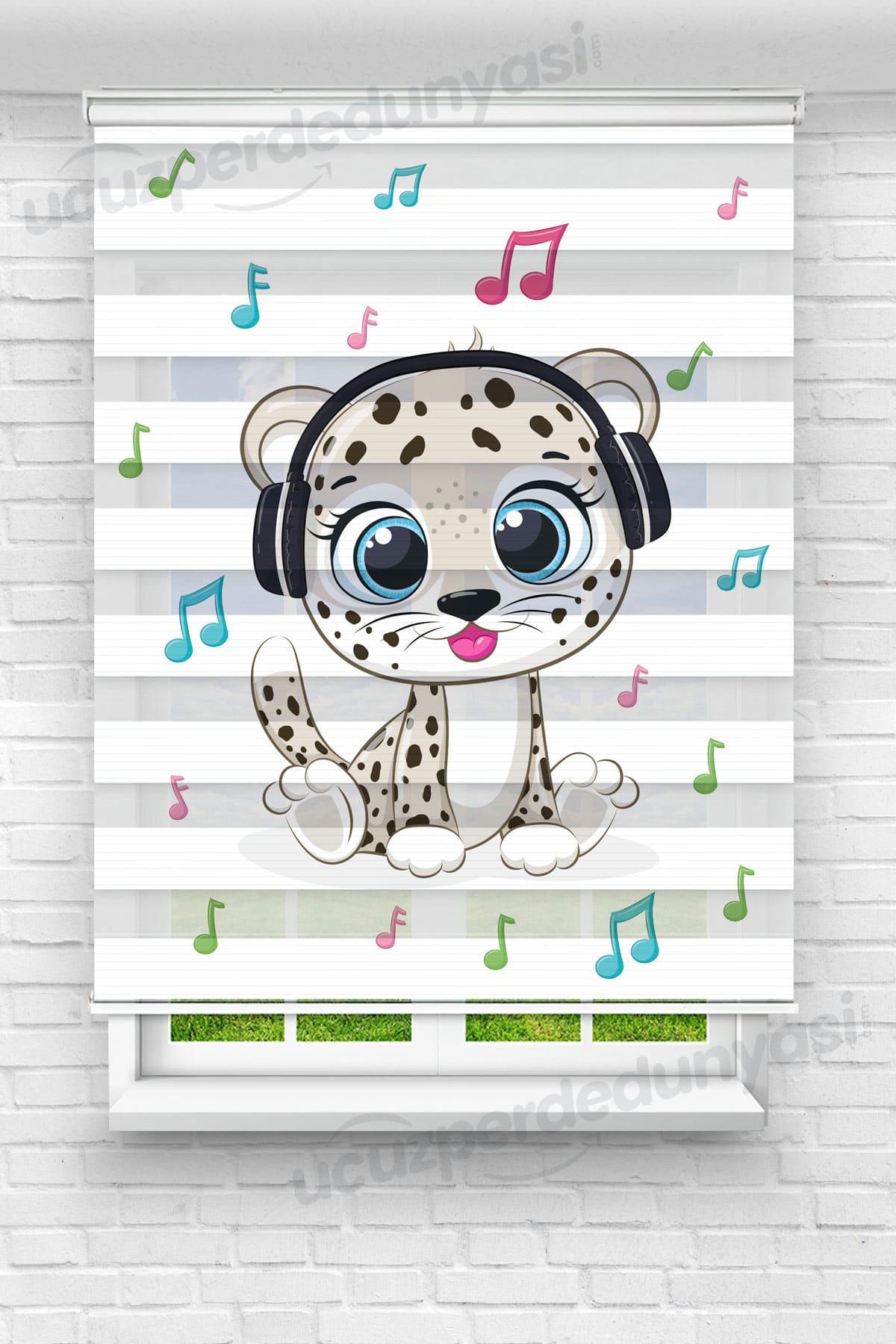 Müzik Dinleyen Leopar Çocuk Odası Zebra Perde