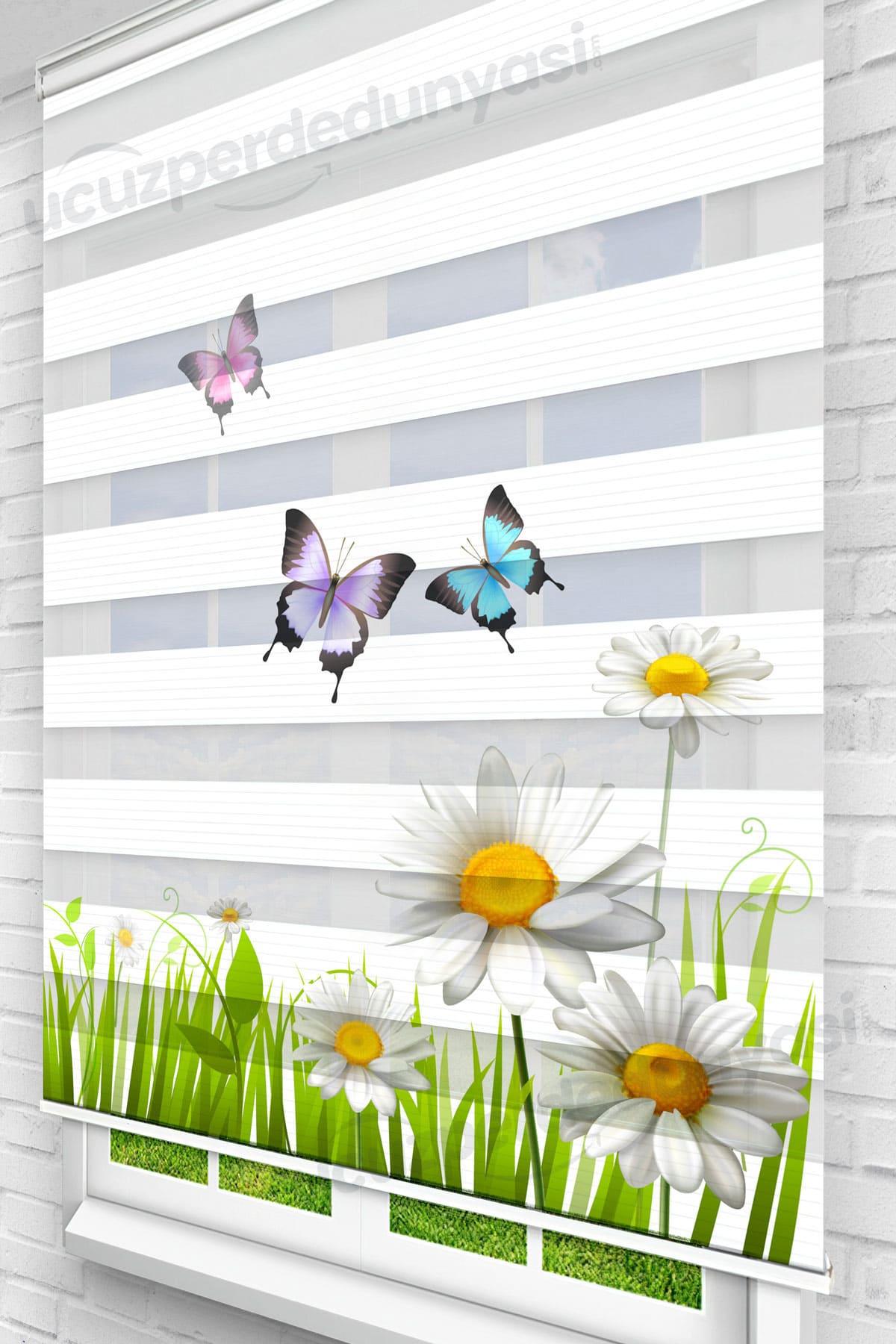 Papatyalar ve Kelebekler Çocuk Odası Zebra Perde