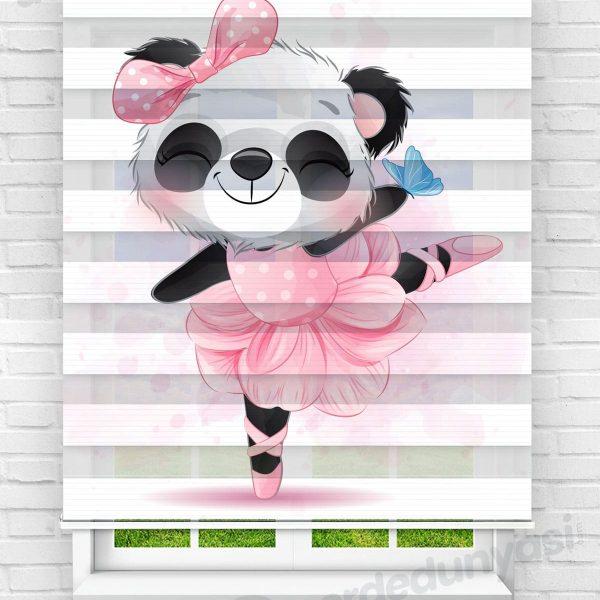 Pembe Balerin Panda Çocuk Odası Zebra Perde