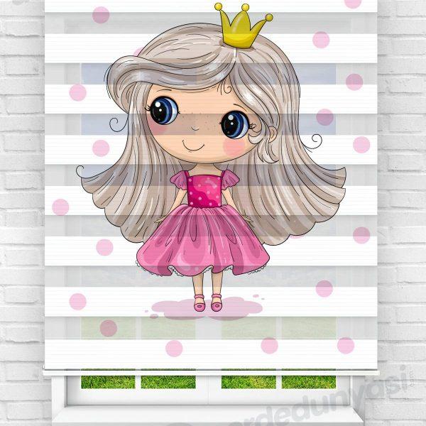 Pembe Elbiseli Minik Prenses Çocuk Odası Zebra Perde