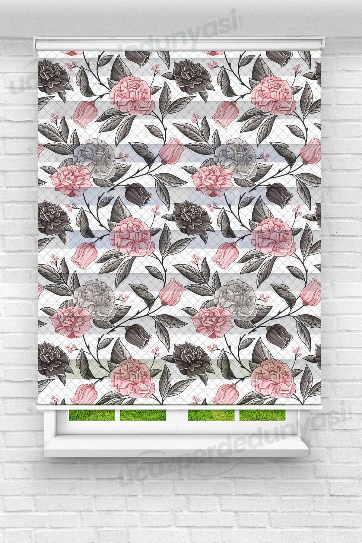 Pembe Kare Güller Çiçekli Zebra Perde