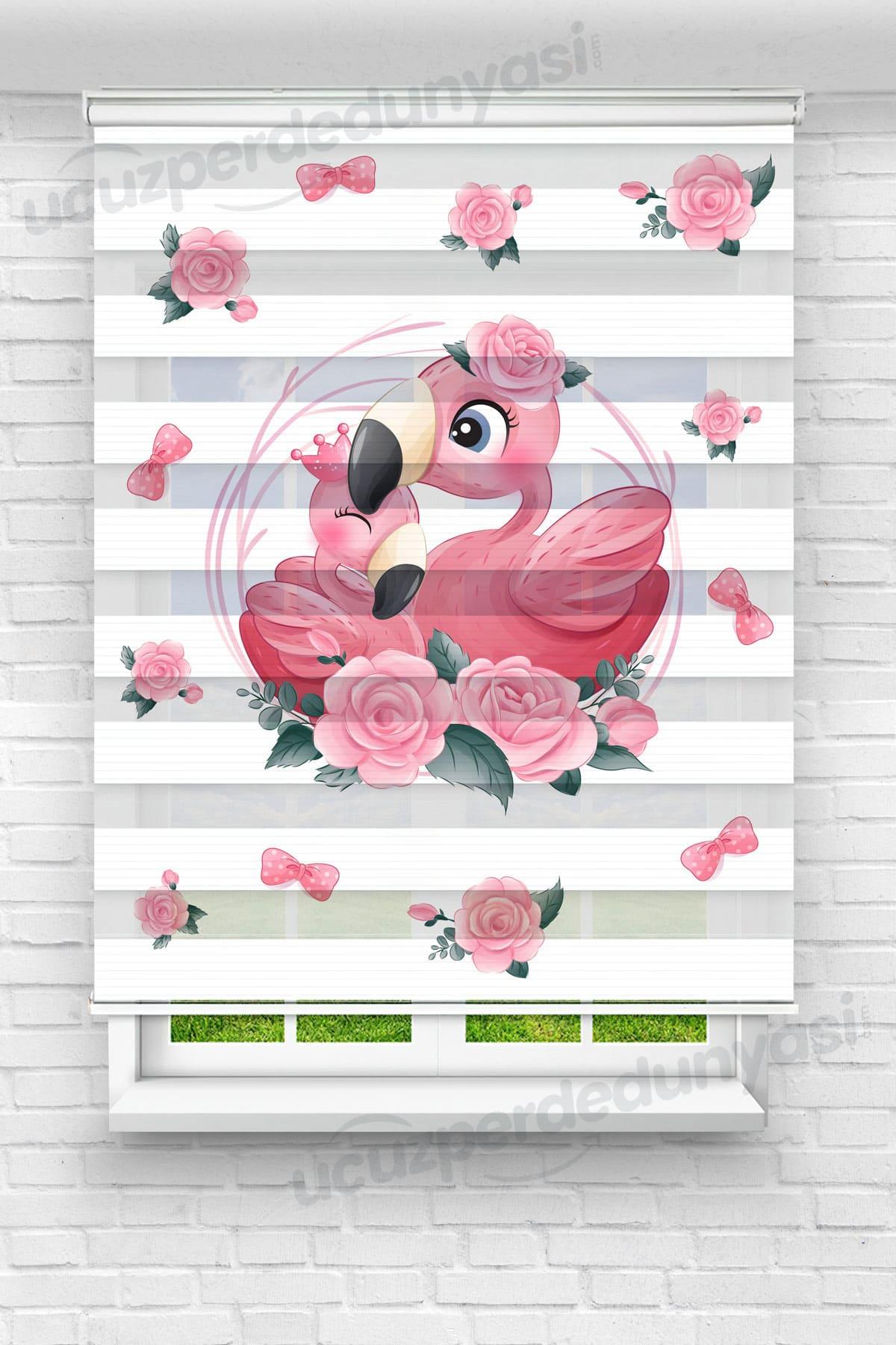 Pembe Kurdele ve Flamingolar Çocuk Odası Zebra Perde
