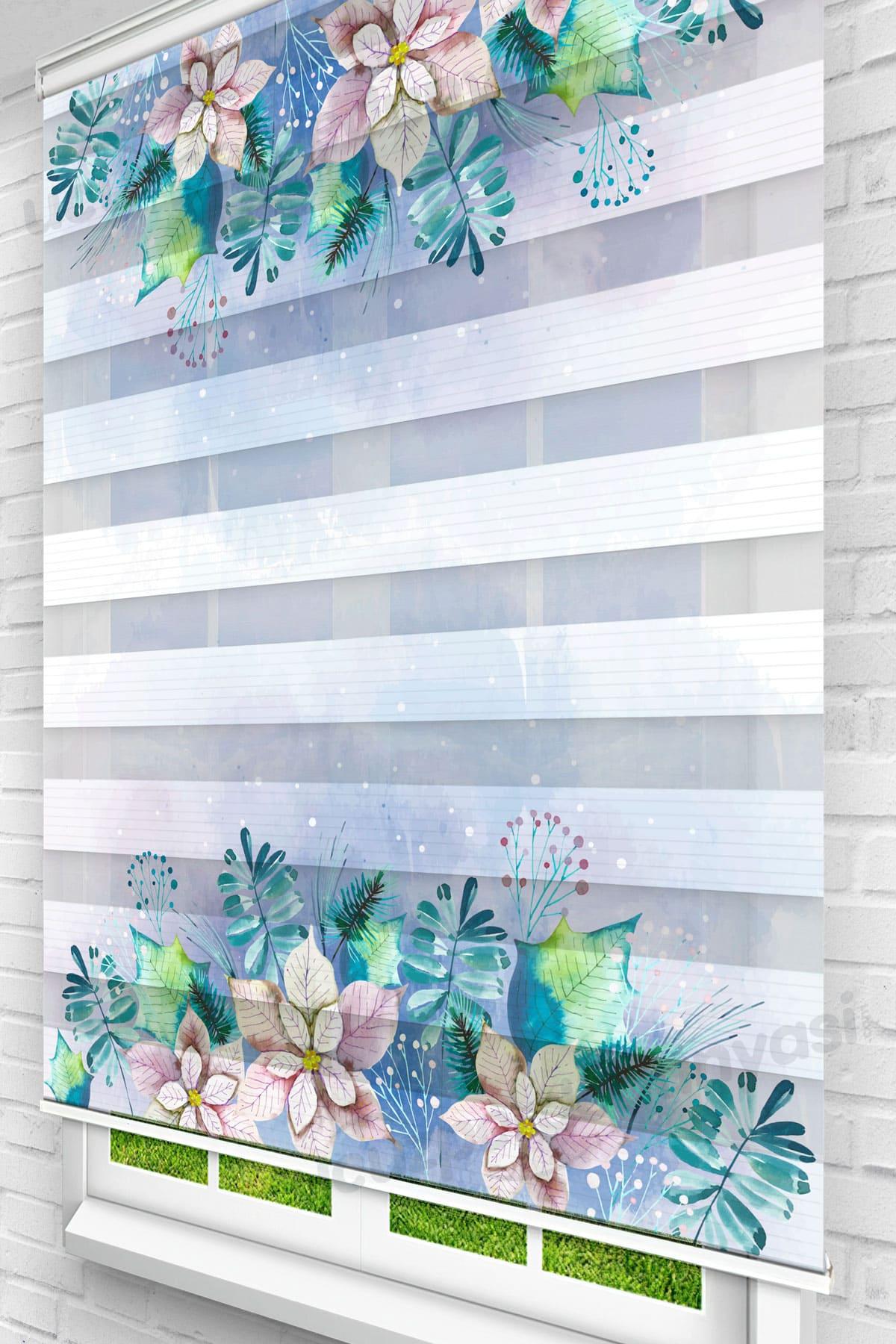 Pembe Mavi Çiçekler Mutfak Zebra Perde