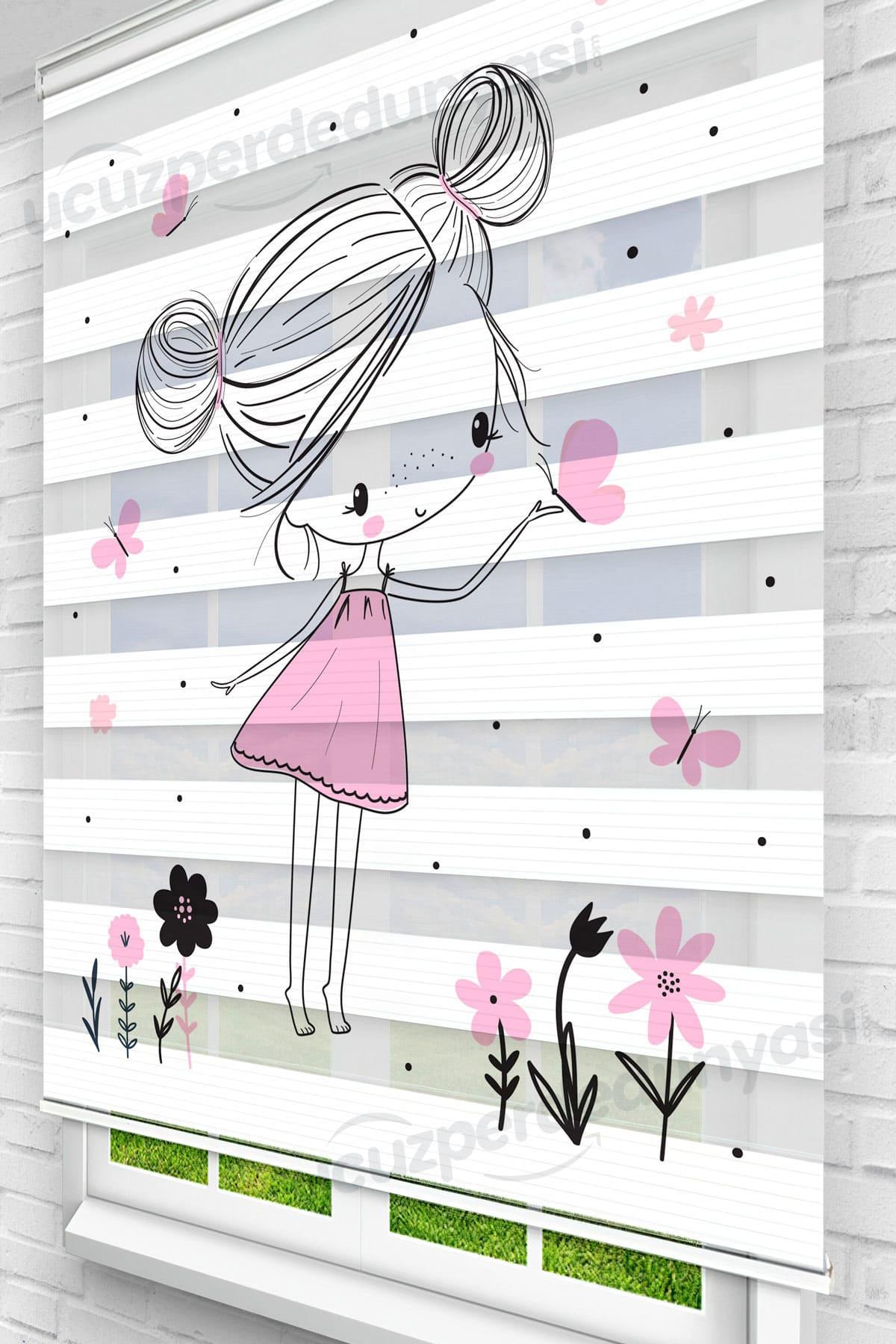 Pembe Meraklı Kız Çocuk Odası Zebra Perde