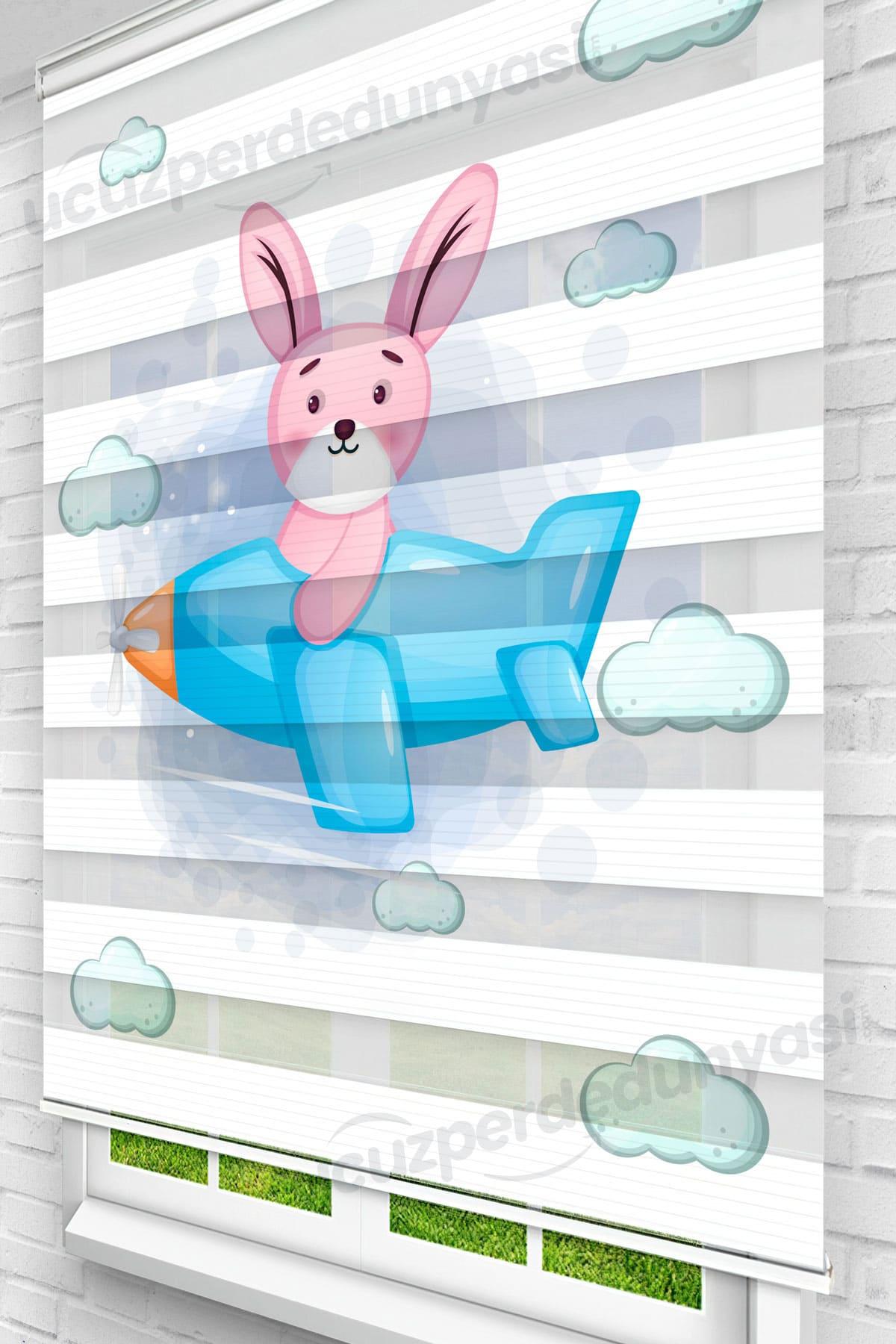 Pembe Pilot Tavşan Çocuk Odası Zebra Perde